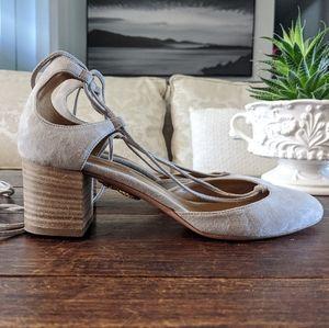 👠 AQUAZZURA Alexa Suede Lace-Up Round-Toe Sandals